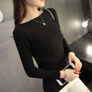 Image 5 - 2019 Korean women collar sweater all match short sleeved shirt slim female thread tight Pullover