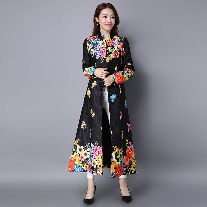 Long sleeve cardigan national wind of new fund of 2018 spring dress retro printing long coat female literary cotton buttons