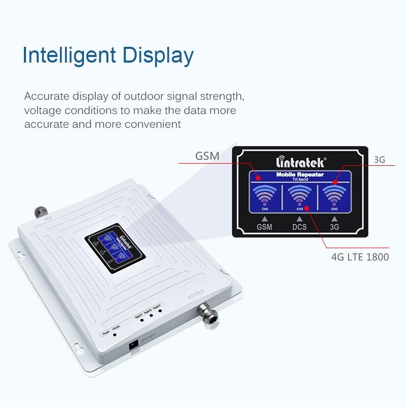 Répéteur Lintratek 2G 3G 4G amplificateur tri bande 900 1800 2100 Booster de signal gsm 900 4G 1800 3g 2100 amplificateur de signal KW20C-GDW #59 - 2