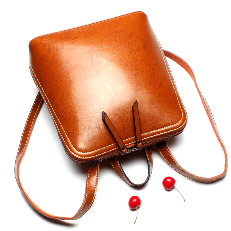 New Simple Fashion Genuine Leather Women Backpacks Oil Wax Cow Leather Students School Bags Multifunction Shoulder Bag
