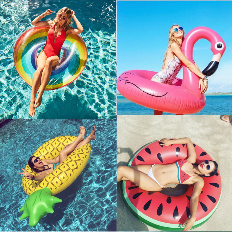 Ins coeur chaud anneau de natation géant flamant rose licorne gonflable piscine flotteur cygne ananas flotteurs Toucan paon eau jouets