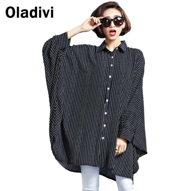 Oladivi Oversized Shirt Vrouwen Grote Omvang Top Gestreepte Blouses 2020 Lente Nieuwe Tees Tuniek Plus Size Kleding Vrouwelijke Blusas 8XL 6XL