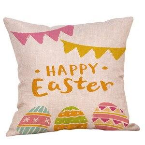 Image 3 - かわいいウサギのプリントコットンリネン広場ホーム装飾スロー枕ソファ腰クッションカバー快適な装飾枕