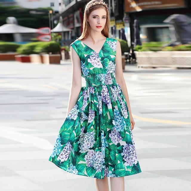 Holiday Dresses 2017 Summer Women Fashion Flowers Print V Neck Sleeveless Waist Elastic Brief Uk