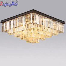 W American Vintage Ceiling Lamps Crystal Lamp Creative Square Lighting Fixture Foyer Lamp Home Lighting Downlight Bulbs Included