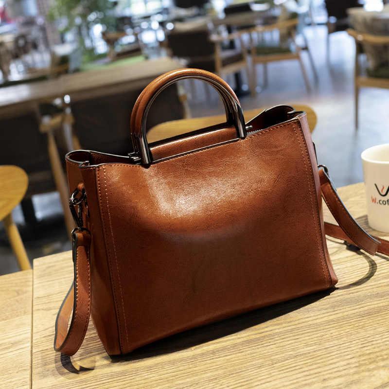 Nueva llegada de 2019, bolso para mujer, bolso retro de cuero con cera de aceite, bolsos para mujer, Bolso pequeño de moda, bolsos de hombro, compras C811