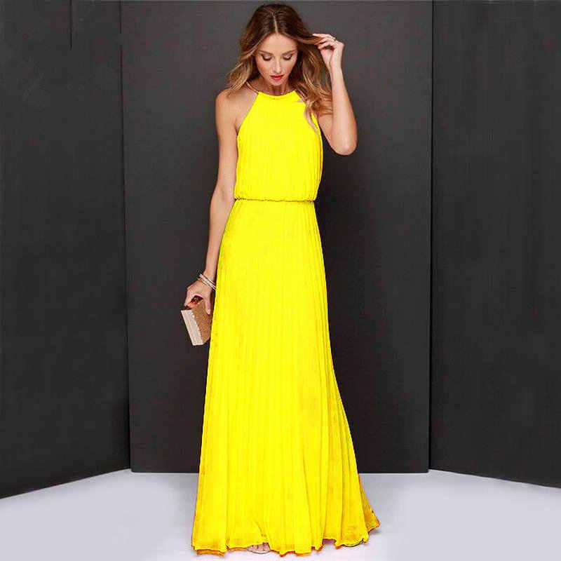 fb90c209580 Женское Бохо Макси Клубное платье желтое без рукавов с лямкой на шее  Sunmmer длинное вечерние платье
