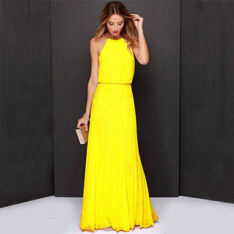 Femmes Boho Maxi Club Robe Jaune Licou Sans Manches D'été Robe de Soirée Longue Banquet Élégant Plancher-longueur robe de Soirée en mousseline de soie robe