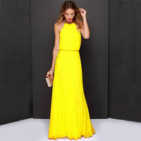 Women Boho Maxi Club Dress Yellow Sleeveless Halter Sunmmer Long Party Dress Banquet Elegant Floor length Party chiffon dress
