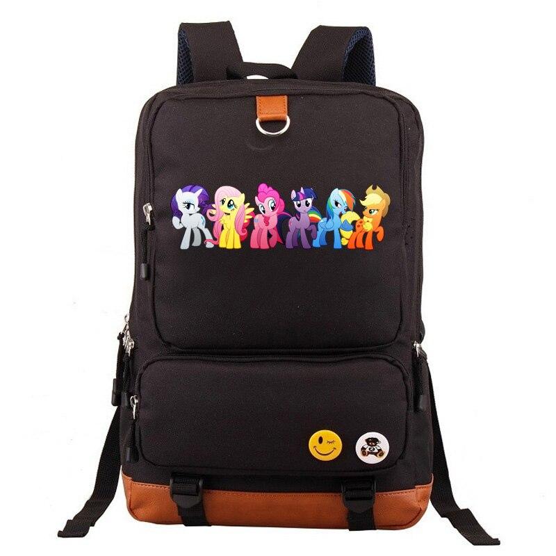 860a5ff0fbf0 Cartoon Cute Pony Rainbow Unicorns Boy Girl School bag Women Bagpack Teenagers  Schoolbags Canvas Men Student