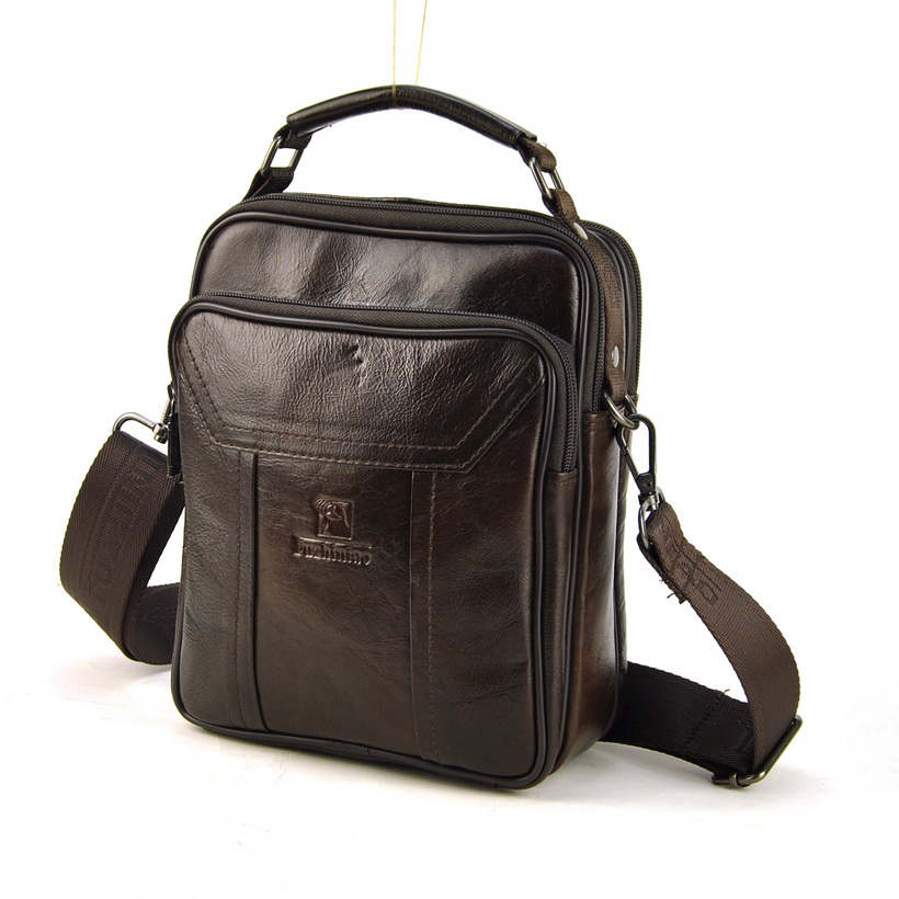 Men Vintage Genuine Leather Shoulder Bag Retro Cross Body Messenger Casual Daily Work Business Classic Multi Zip Compartment