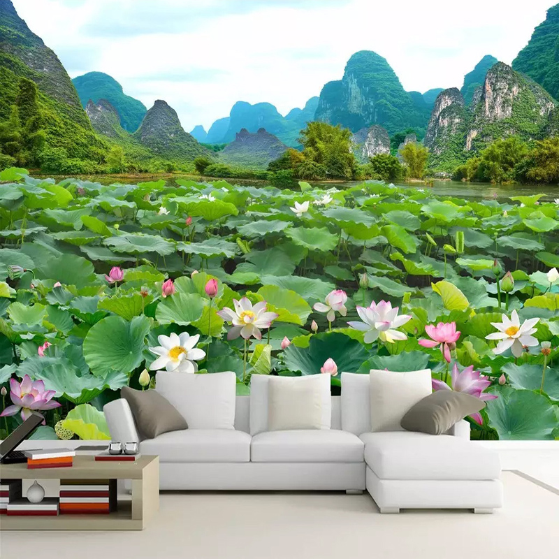 Custom Any Size Murals Wallpaper 3D Beautiful Mountains And Rivers Lotus Pond Landscape Photo Wall Painting Living Room 3D Decor