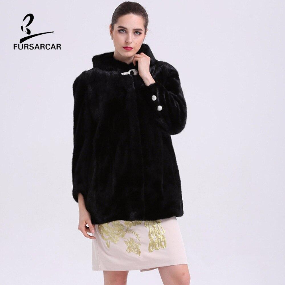 Nyata Natural Mink Fur Musim Dingin Coat Dengan Hooded Untuk Wanita - Pakaian Wanita - Foto 4