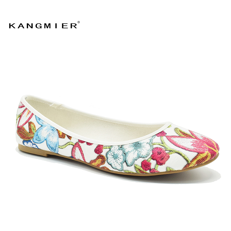 Shoes Women PU ballet Ballerina Flats black White Embroidered Round toe With Flowers KANGMIER pu pointed toe flats with eyelet strap