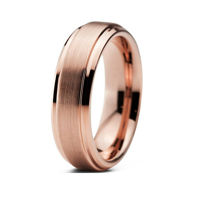 2016 Fashion New Style 6MM Tungsten Ring Rose Gold Plated Tungsten Brushed Surface With Stage Wedding Ring For Men And Women