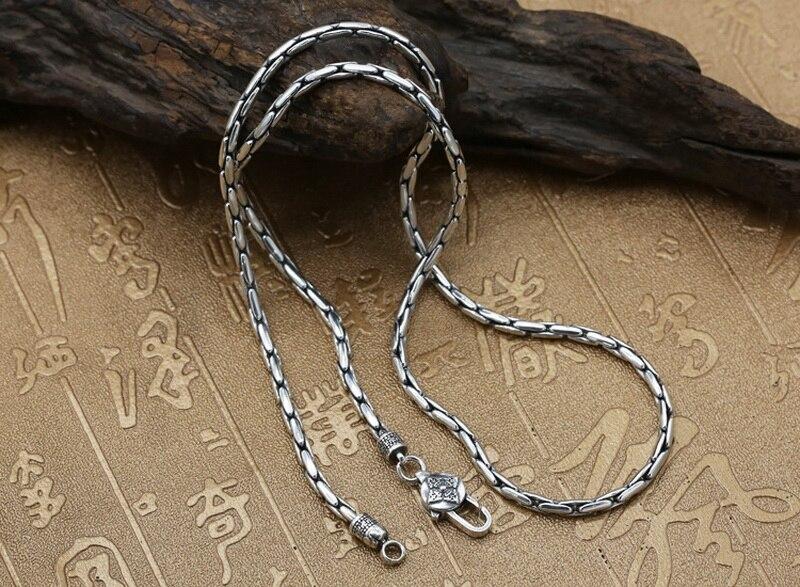 Pur solide en argent Sterling 925 Simple collier ras du cou hommes poli lien chaîne collier Vintage Thai argent hommes bijoux boîte gratuite - 3