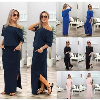 Women Boho Maxi Dress Short Sleeve Side Slit Dress 2