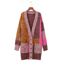 Autumn Winter Long Cardigans Patchwork Sweater Women 2017 High Quality Long Sleeve Loose Knitted Maxi Cardigan