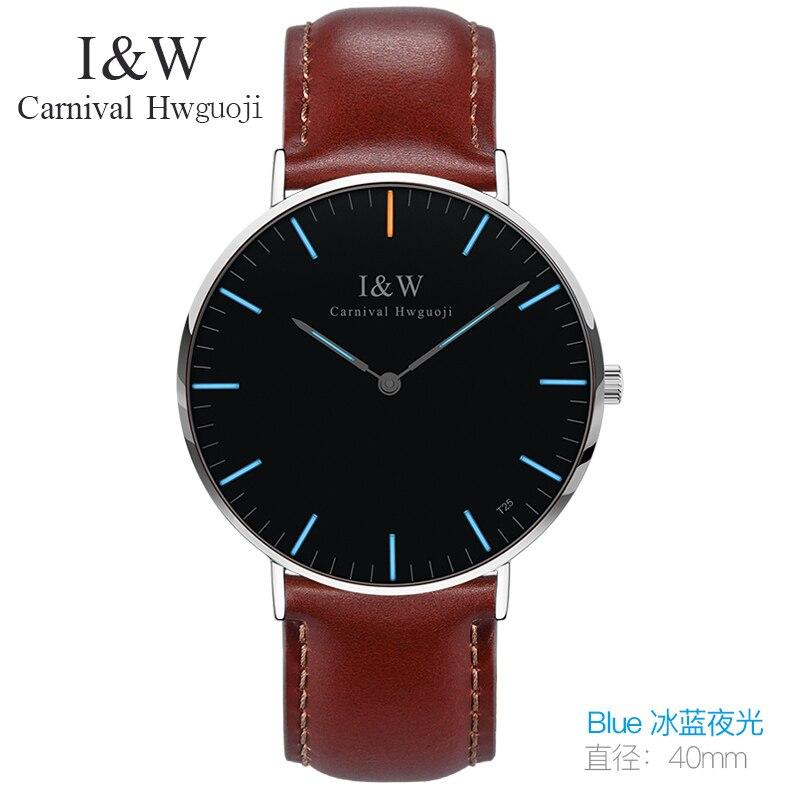 Carnaval De Mode Simple Montre À Quartz Hommes Bleu Tritium Lumière Bracelet En Cuir Étanche Ultra Mince Montres Horloge reloj hombre