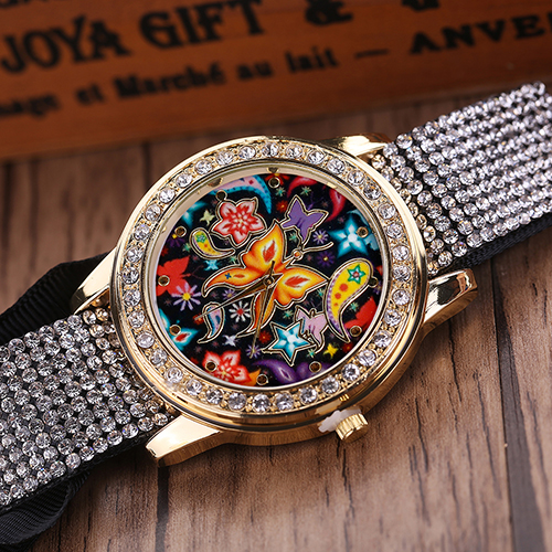 font b Women s b font Fashion Rhinestone Inlaid Wristwatch Butterfly Pattern Dial Analog font