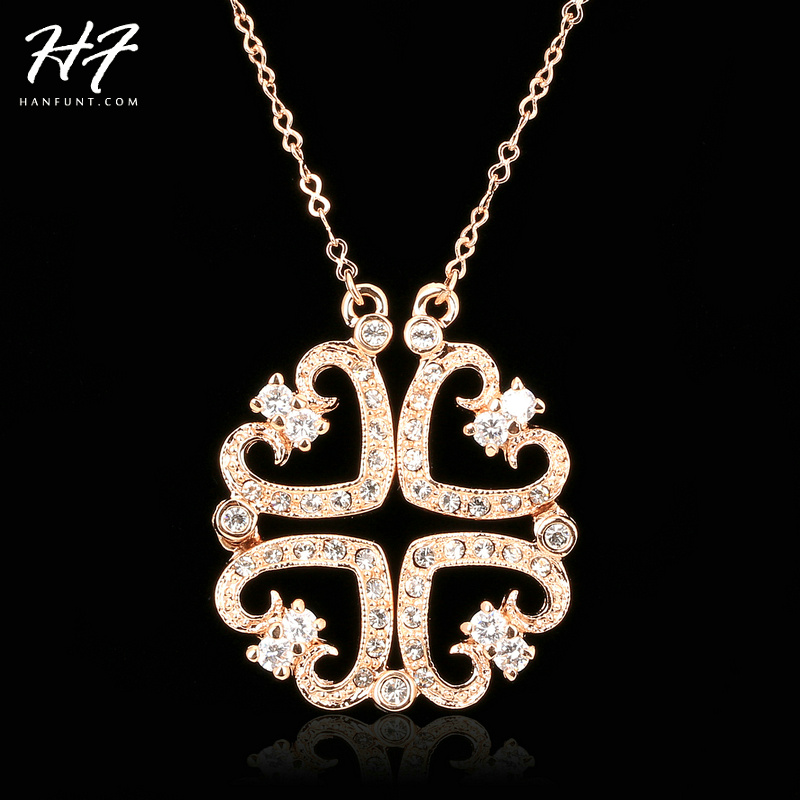 Top Quality Two Kinds of Wear Method 4 Hearts Rose Gold Color Pendant Necklace Austrian Crystal