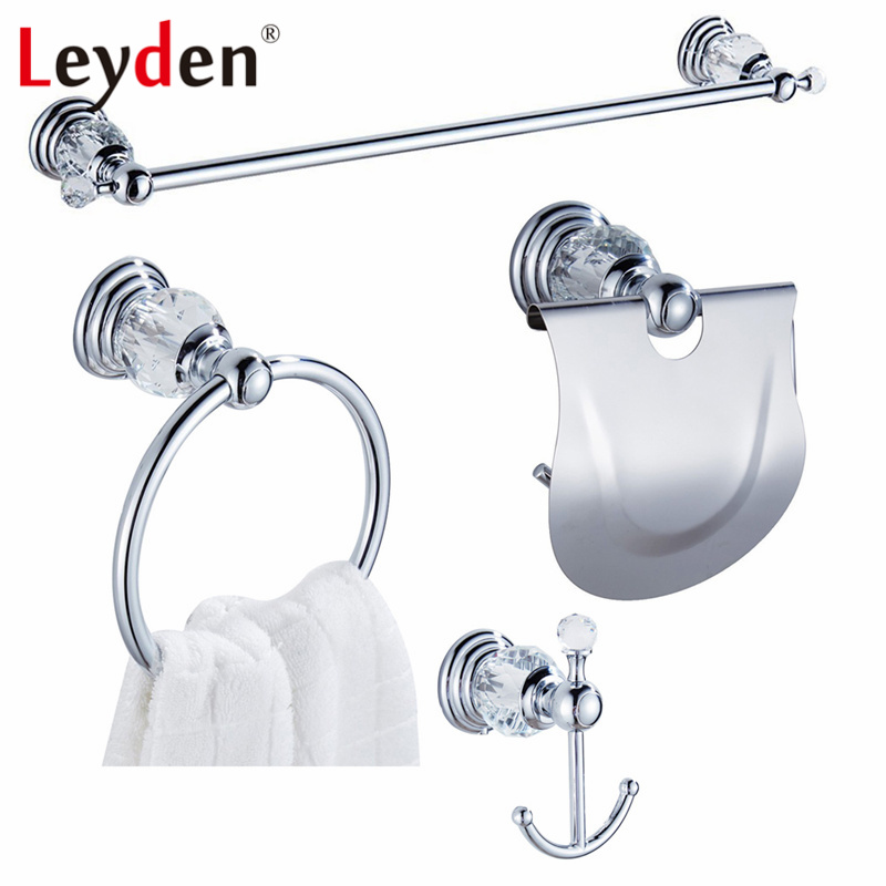 Leyden Luxury Crystal Chrome Finish Towel Bar Clothes Hook Toilet Paper Holder Towel Ring Wall Mounted