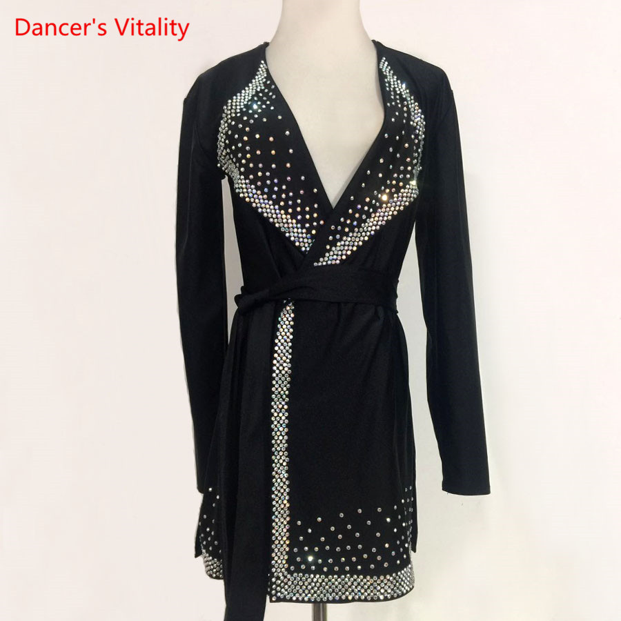 Professional Men/Boy's Latin Dance Tops Rhinestone Stage Performance Plus Size Shirt Adult Child Ballroom Dance Competition Tops