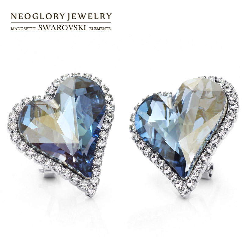 Neoglory Austria Crystal & Auden Rhinestone Stud Earrings Romantic Love Heart Design Alloy Plated For Sale Elegant Gift цены