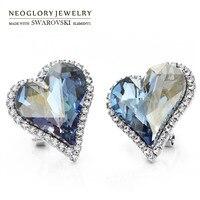 Neoglory avusturya kristal & auden rhinestone saplama küpe satış zarif hediye için romantik aşk kalp tasarım alaşım kaplama