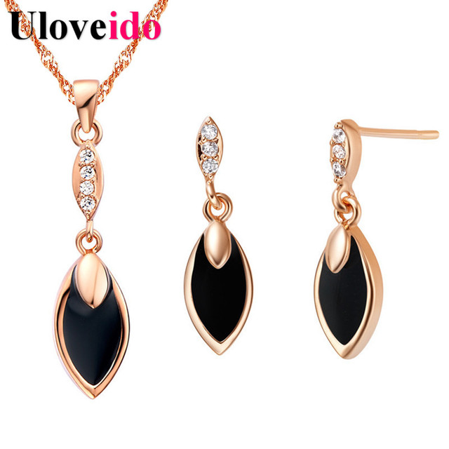 5f2644af1 Black Leaf Women's Crystal Rose Gold Color Wedding Bridal Jewelry Sets  Necklace and Earrings Jewelry Set Gift Uloveido T386