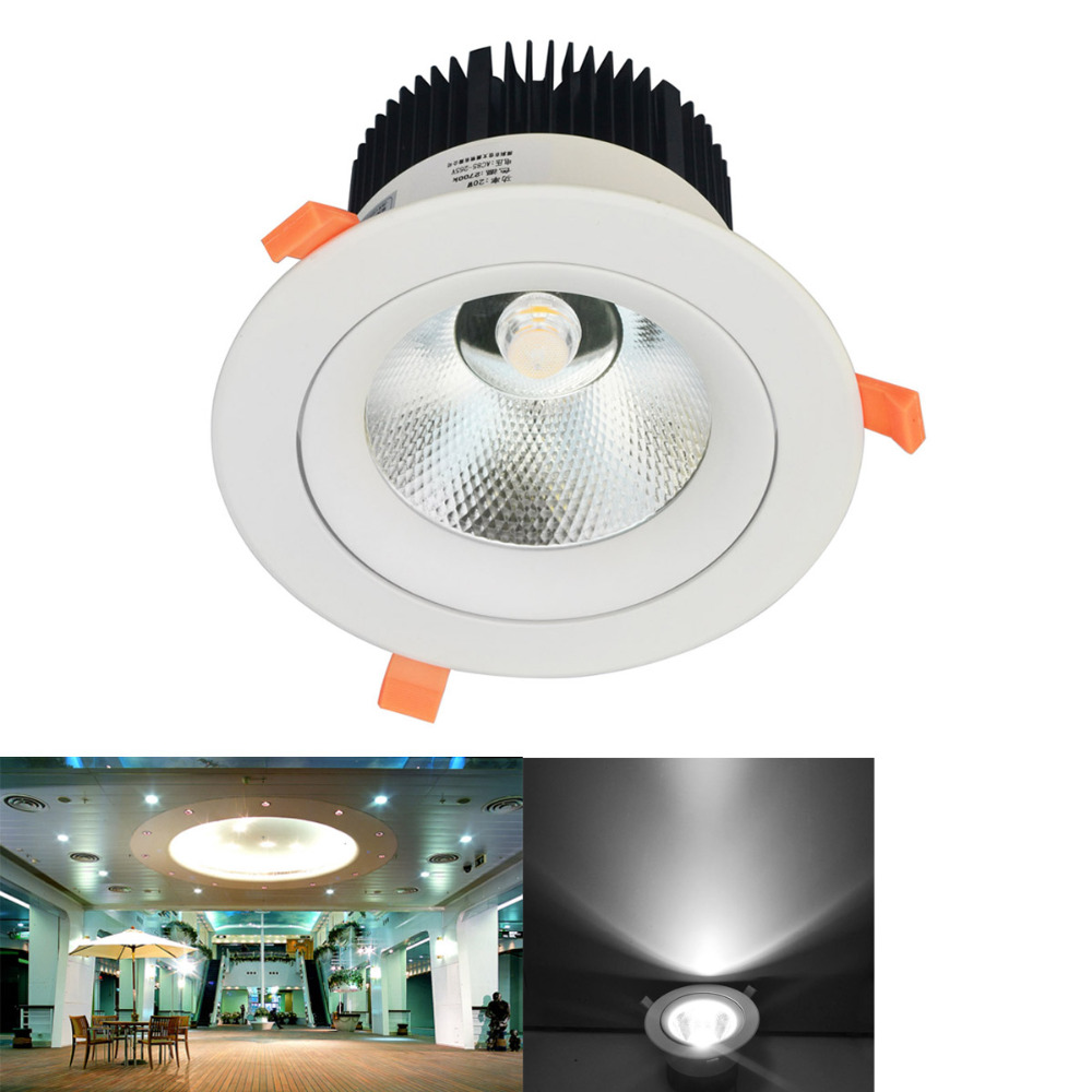 Jiawen LED Downlight 20W  AC85-265V very bright LED COB chip canister light embedded ceiling white/warm white new australian style 20w new very bright led cob chip downlight recessed led ceiling light spot light lamp white warm white