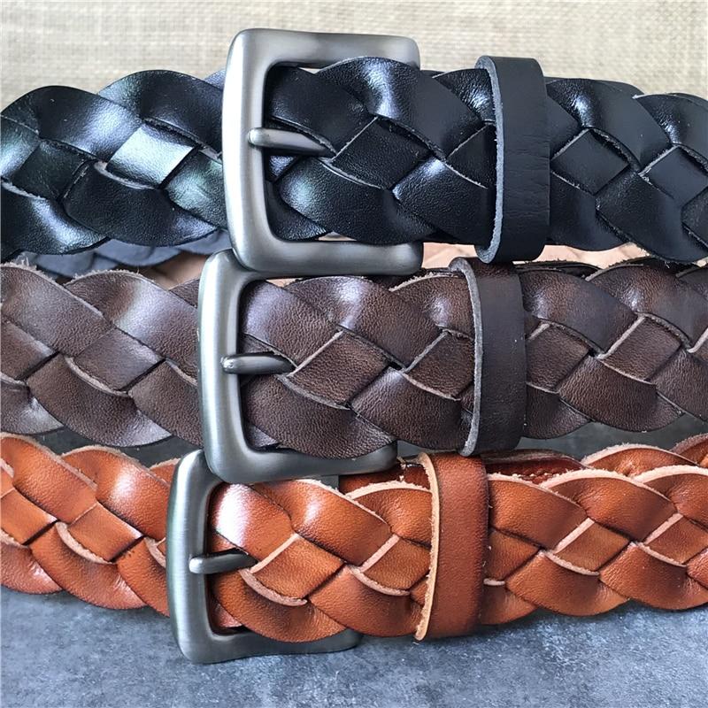 Cinturón trenzado de los hombres de lujo de los hombres de cuero genuino de cinturón Ceinture Homme ancho cinturón Ceinture mujer cinturones para mujer Correa MBT0508