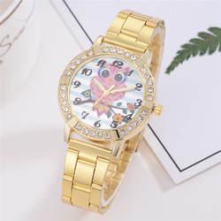 Duoblu розовое золото для женщин Элегантный горный хрусталь браслет сова мультфильм шаблон кварцевые часы модная женская одежда часы 2019 30Q
