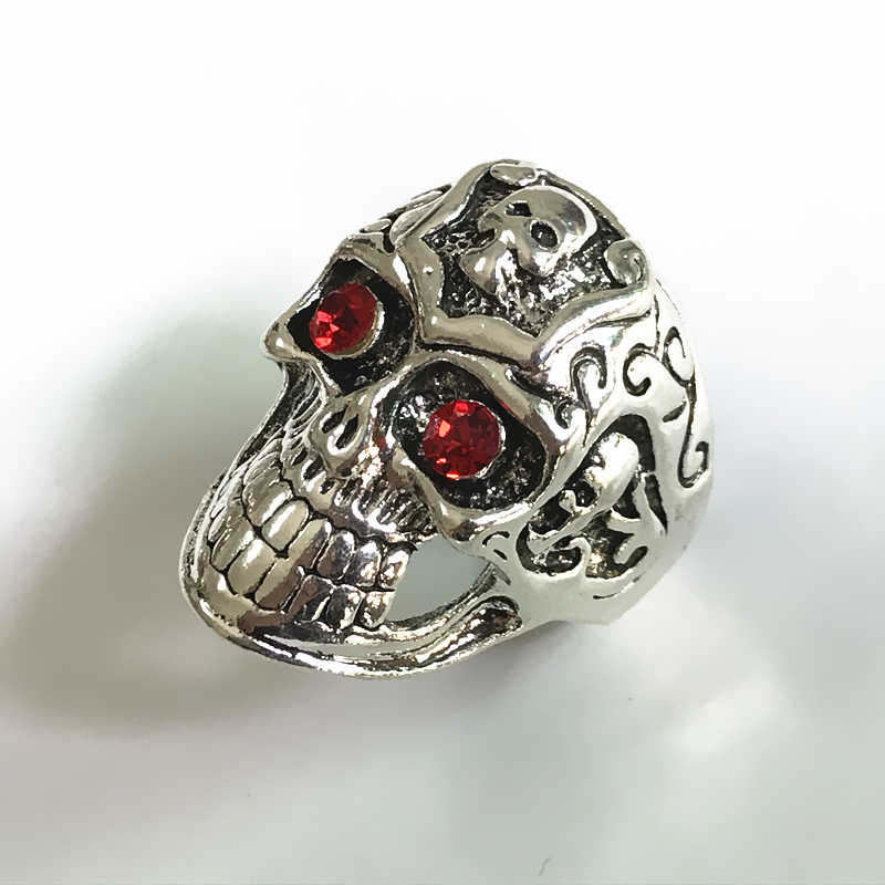Hot Sale Stainless Steel Ring Skull Head Rings Retro Red Eyes Skeleton Ring Personality Punk Crystal Jewelry Wholesale Cheap
