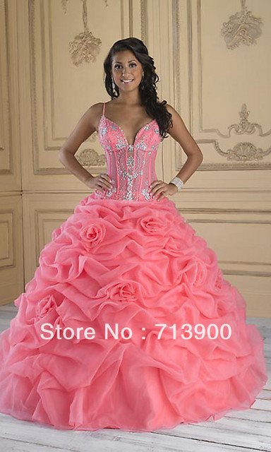 Fashion Strap Pink flowers Quinceanera Masquerade Prom Ball Gowns Evening Dress