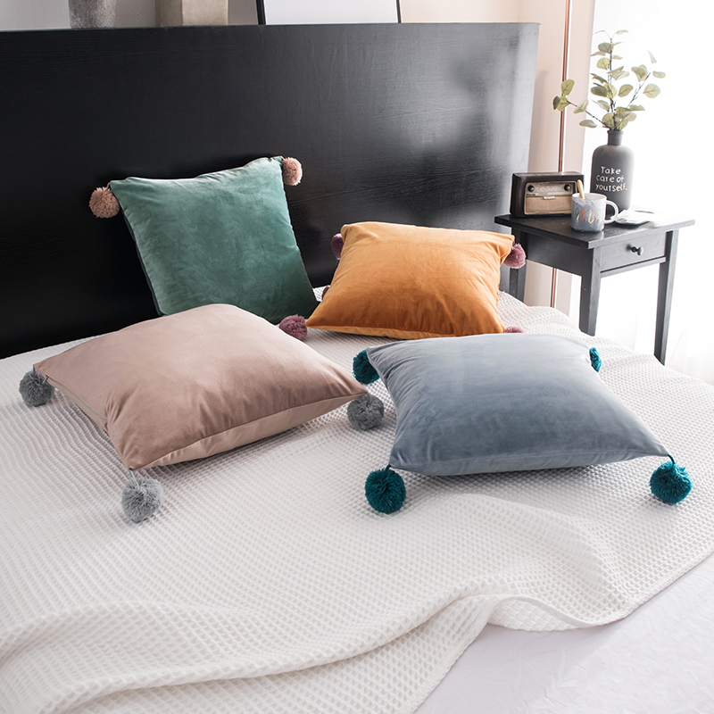 Us 14 38 6 Off 30x50 45x45 55x55cm Wool Ball Pink Grey Green Orange Velvet Cushion Cover Pillowcase Decorative Pillow Throw Case In