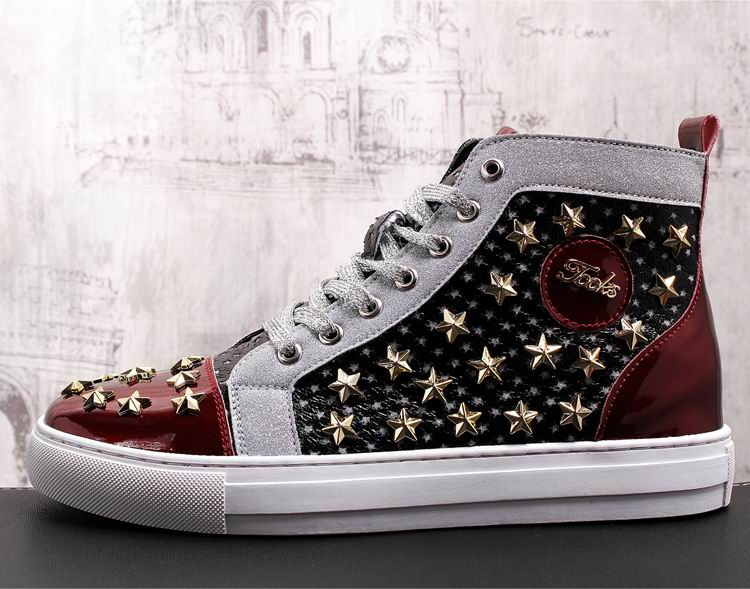 ERRFC Personalized Fashion Men High Top Casual Shoes Luxury Star Rivets Charm Mixed Colors Ankle Boots Man Trending Leisure Shoe 4