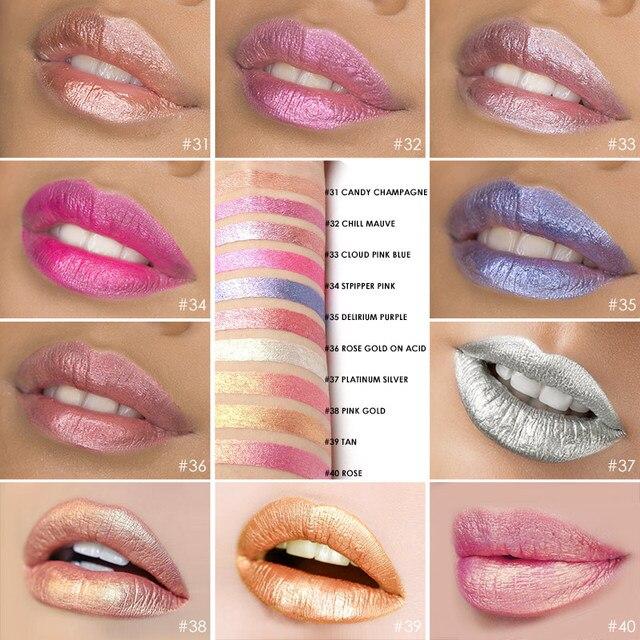 FOCALLURE Waterproof Batom Glitter Matte Lipstick Lip Stick Long Lasting Lip Gloss Beauty Cosmetic Glitter Tint Lip 2
