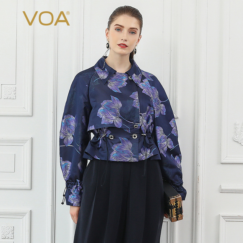VOA Newest Purple Lantern Long Sleeve 100% Silk Jacket Bodycon Women Floral Print Ladies Basic Coats Casual Clothes Outwear W326