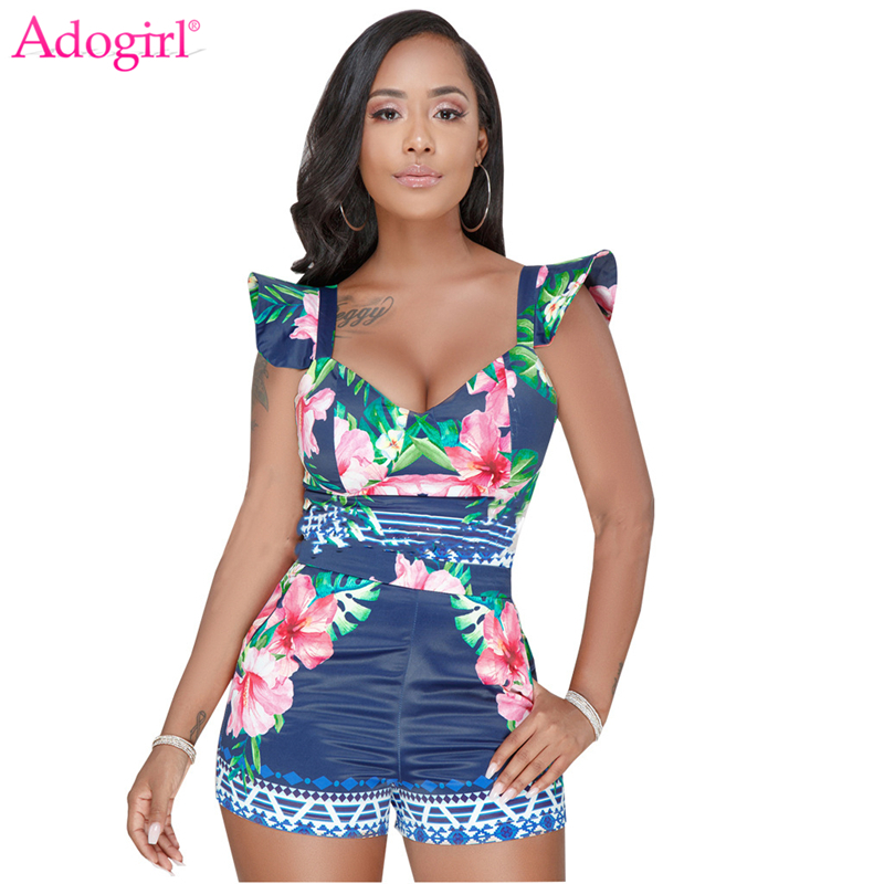 Adogirl Floral Print Ruffles Women Fashion Two Piece Set Sexy V Neck Spaghetti Straps Bow Crop Top Sexy Shorts Summer Outfits