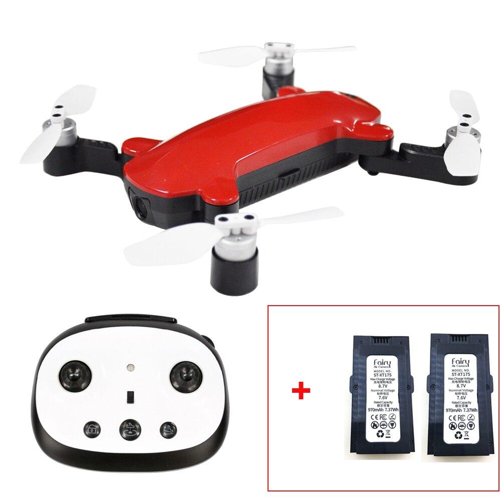 (С 2 батареей) Simtoo Фея складной бесщеточный Квадрокоптер с передатчиком WifI FPV 1080 P камера gps Дрон XT175