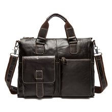 Luxury Genuine Leather Men Briefcase Casual Men's Business Shoulder Bag 14″ Laptop Messenger Bag Men's Travel Handbag Portfolio