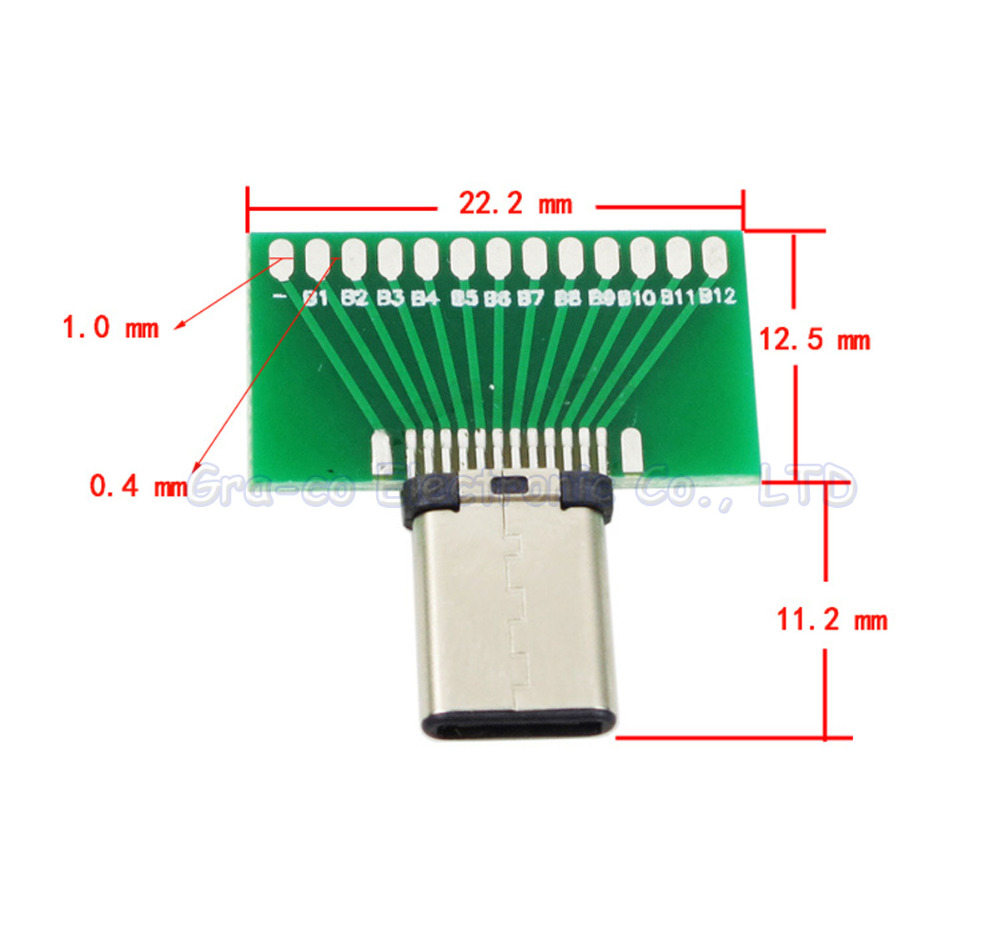 10pcs/lot USB 3.1 TYPE-C Male Test board Male connector with PCB board