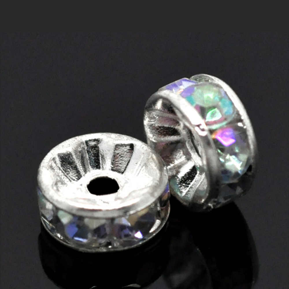 DoreenBeads Spacer Beads Round Clear AB Color Silver color AB Color Rhinestone About 8mm Dia,Hole:Approx 1.9mm,10 Pieces