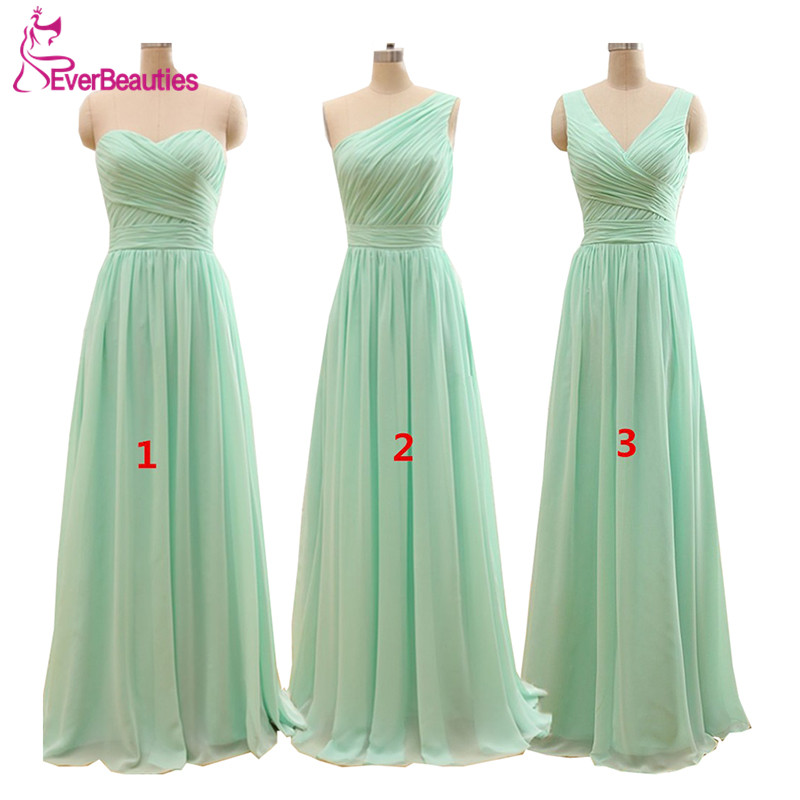 Bridesmaid Dresses Mint-Green Chiffon Under-50 Floor-Length Casamento Longo Cheap A-Line