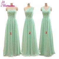 2015 Long Cheap Mint Green Bridesmaid Dresses Under 50 Floor Length Chiffon A Line Vestido De