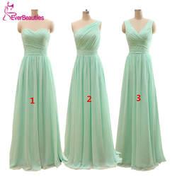 2019 Длинные Дешевые мятно-зеленые платья подружки невесты до 50 длиной до пола шифоновые трапециевидные платья Vestido De Madrinha De Casamento Longo