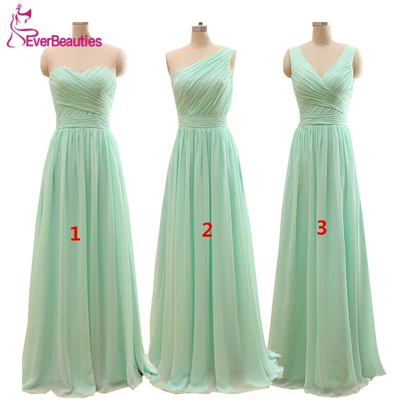 2020 Длинные Дешевые Цвет Зеленая мята платья подружек невесты до 50 длина до пола шифон А силуэт Vestido De Madrinha De Casamento Longo