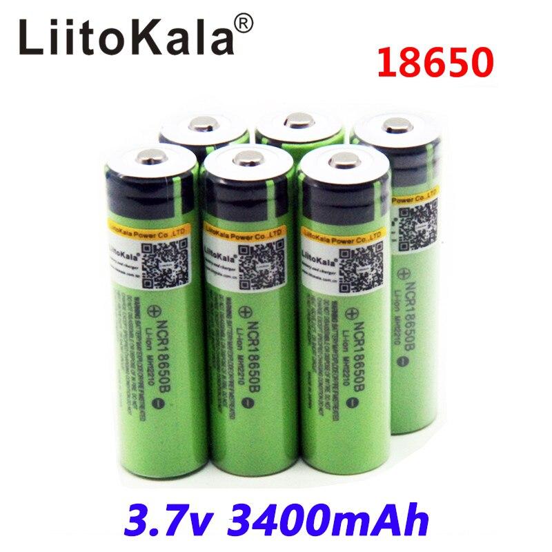 2017 liitokala 18650 3400 Battery 3400mAh 3.7V NCR18650B Rechargeable Li-ion Battery for Flashlight for panasonic (NO PCB)