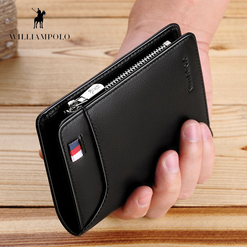WILLIAMPOLO Genuine Leather Men Wallet With Card Holder Men Short Wallet Purse Zipper Wallets Casual Standard Wallets PL293